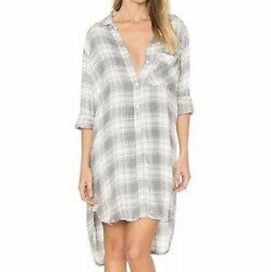 Anthropologie Cloth and Stone Plaid Shirt Dress